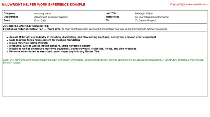 Millwright Helper Job Title Docs