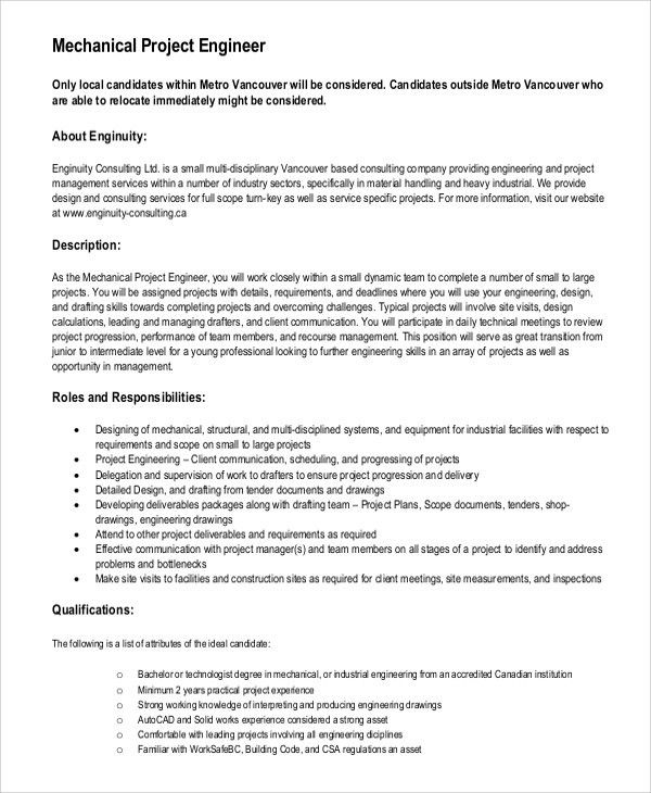 Project Engineer Job Description. Qa/Qc Engineer Job Description ...