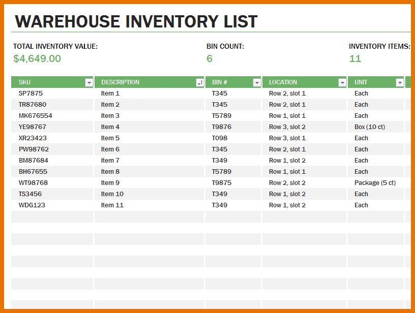 8+ inventory excel template | Itinerary Template Sample