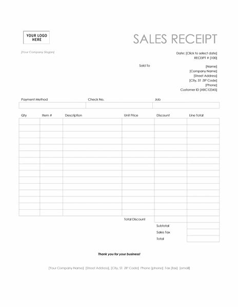 Sales receipt (Simple Lines design) - Office Templates