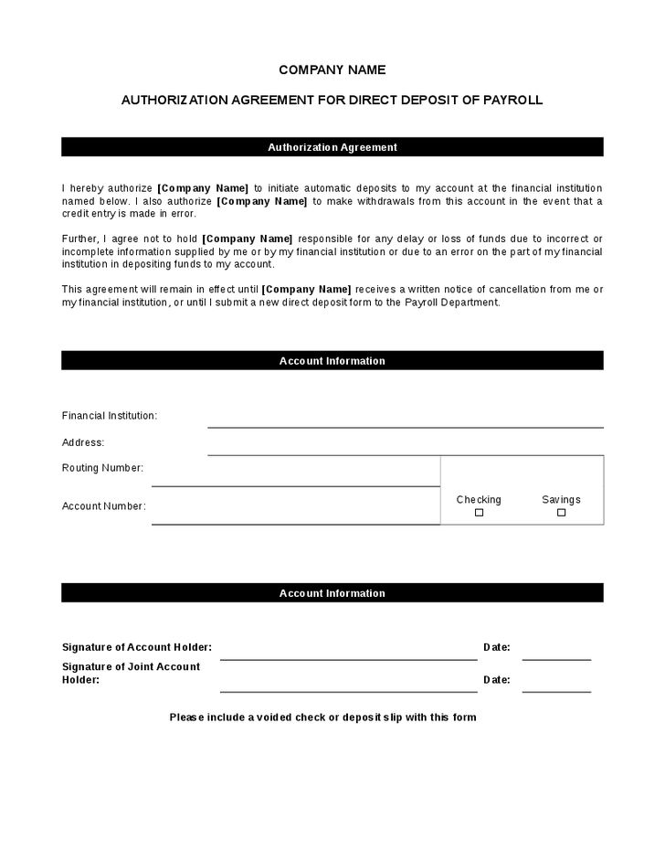 employee direct deposit form template - Template