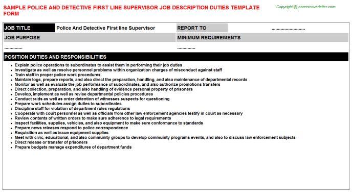 Police And Detective First Line Supervisor Job Description