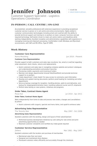 Customer Care Representative Resume samples - VisualCV resume ...