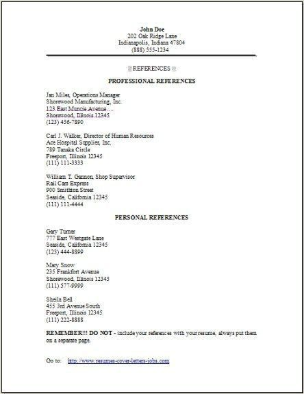 Reference List Sample. Sample Resume Reference Page Resume ...