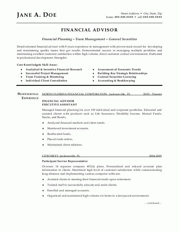sample resumes, financial advisor resume