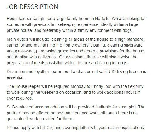 Kate Middleton looking for housekeeper. Quit your jobs.