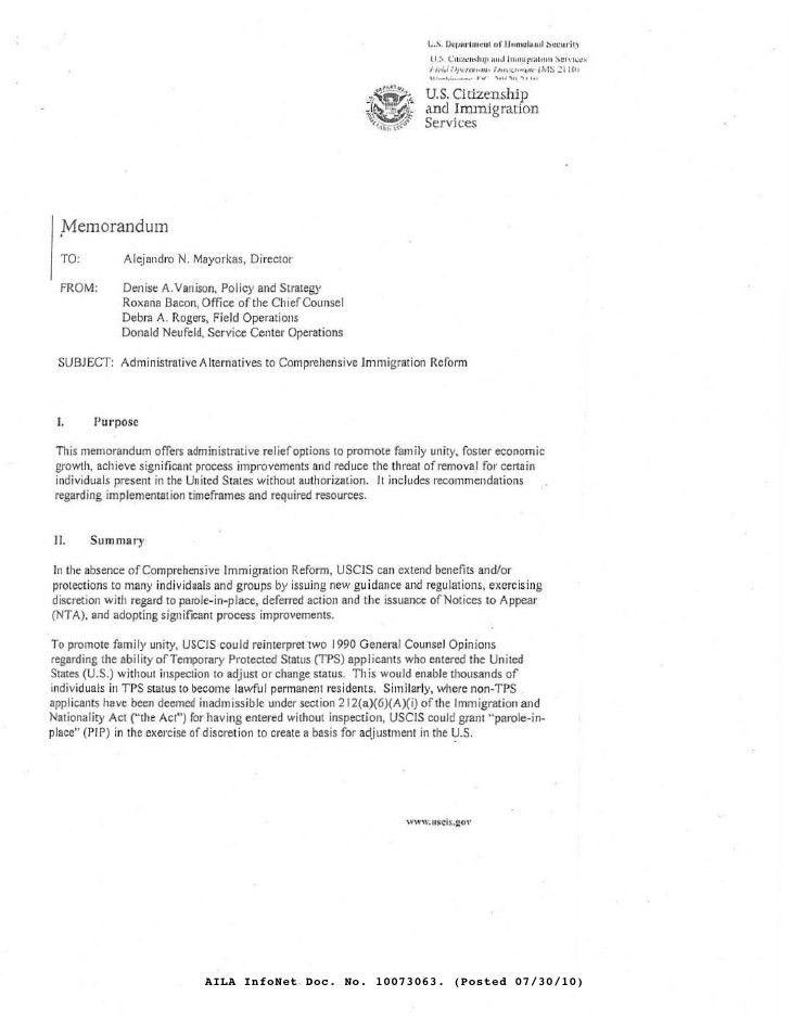 Undated Internal USCIS Draft Memorandum Discusses Administrative Alt…