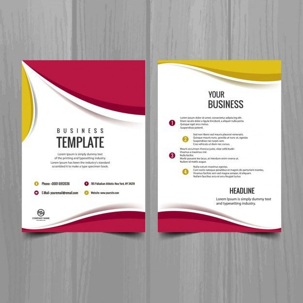 Pink and yellow brochure design Vector | Free Download