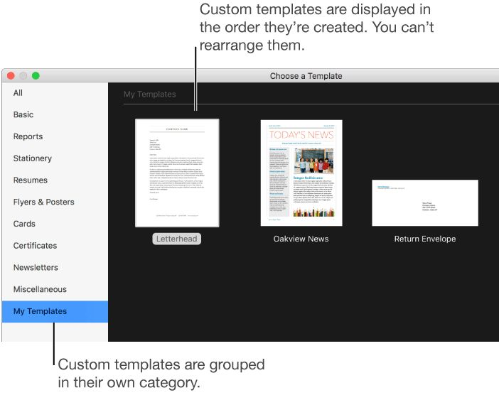 Pages for Mac: Create a custom Pages template