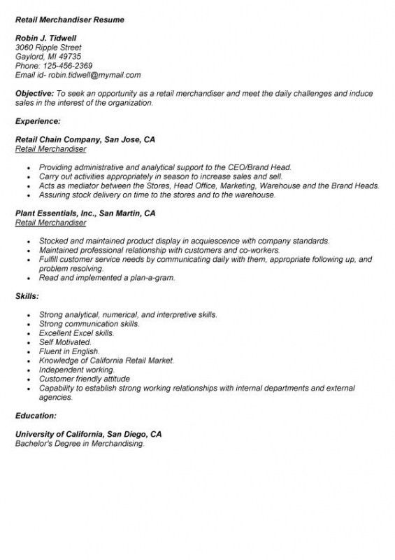 Retail Merchandiser Resume Sample - Best Letter Sample