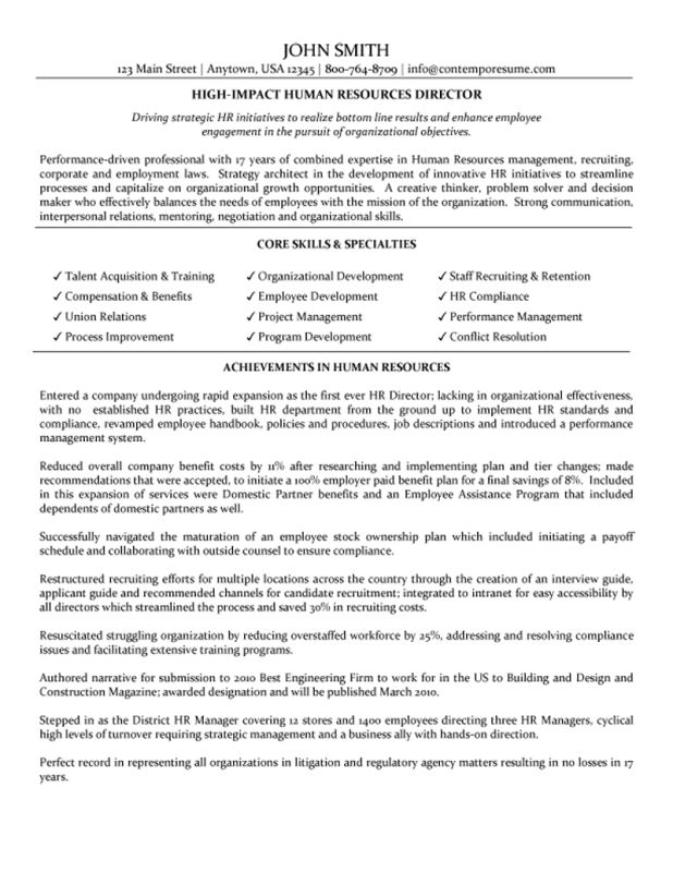 Template sample human resources manager resume