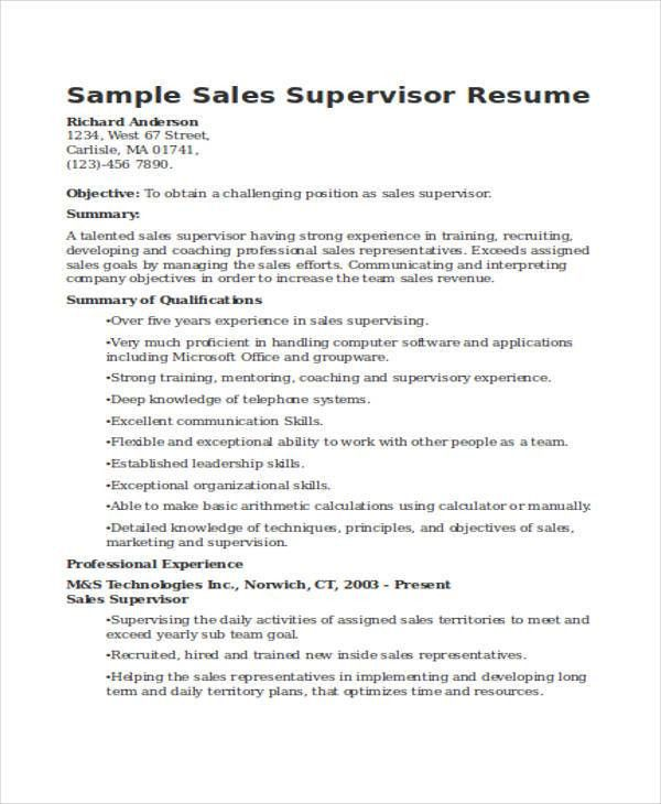 32 sales resume samples free premium templates - Supervisor Resume Templates