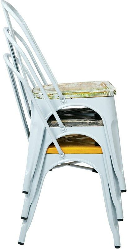 Designs Bristow Metal Chair with Wood Seat - 4-Pack - White and ...