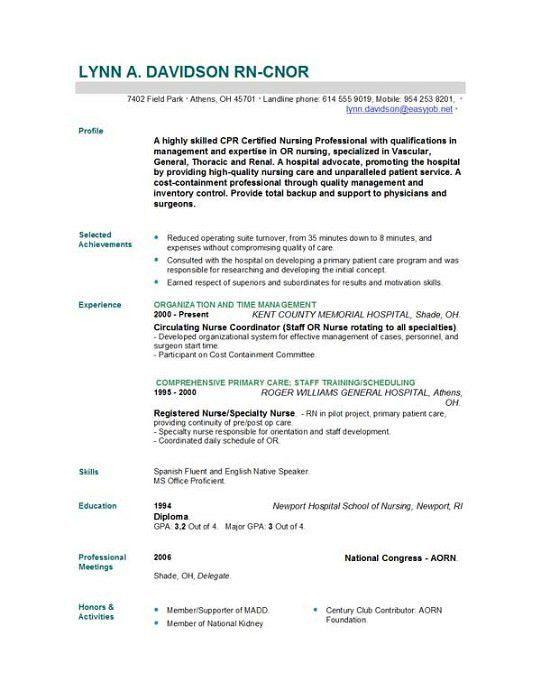 Professional Nurse Resume Template | haadyaooverbayresort.com
