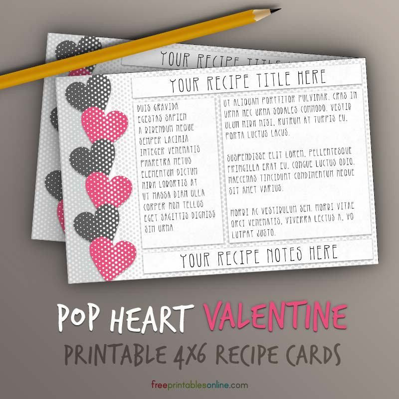 Pop Hearts Recipe Card Template (4x6) | Free Printables Online