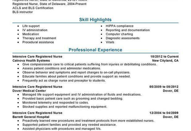 Intensive Care Nurse Resume Sample healthcare skill highlights ...