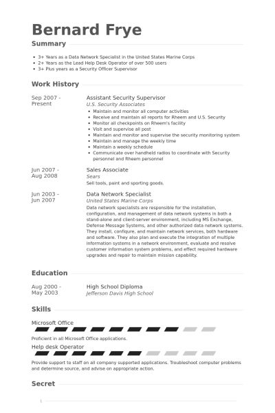Security Supervisor Resume samples - VisualCV resume samples database