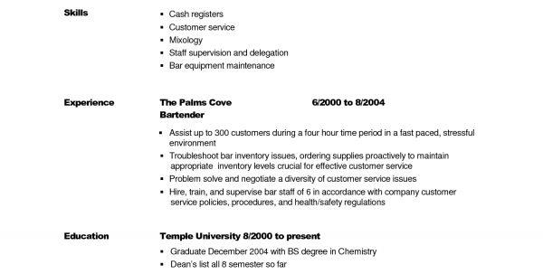 Bartender Server Resume Skills Bar Server Resume Sample Resume ...
