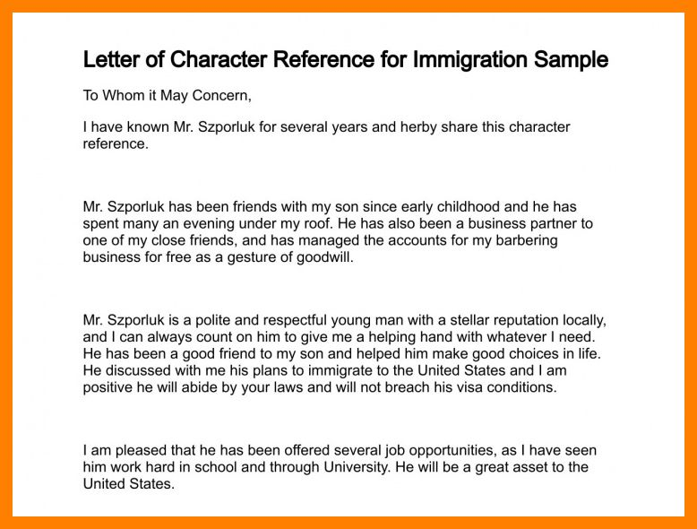 3+ character letter for immigration | packaging clerks