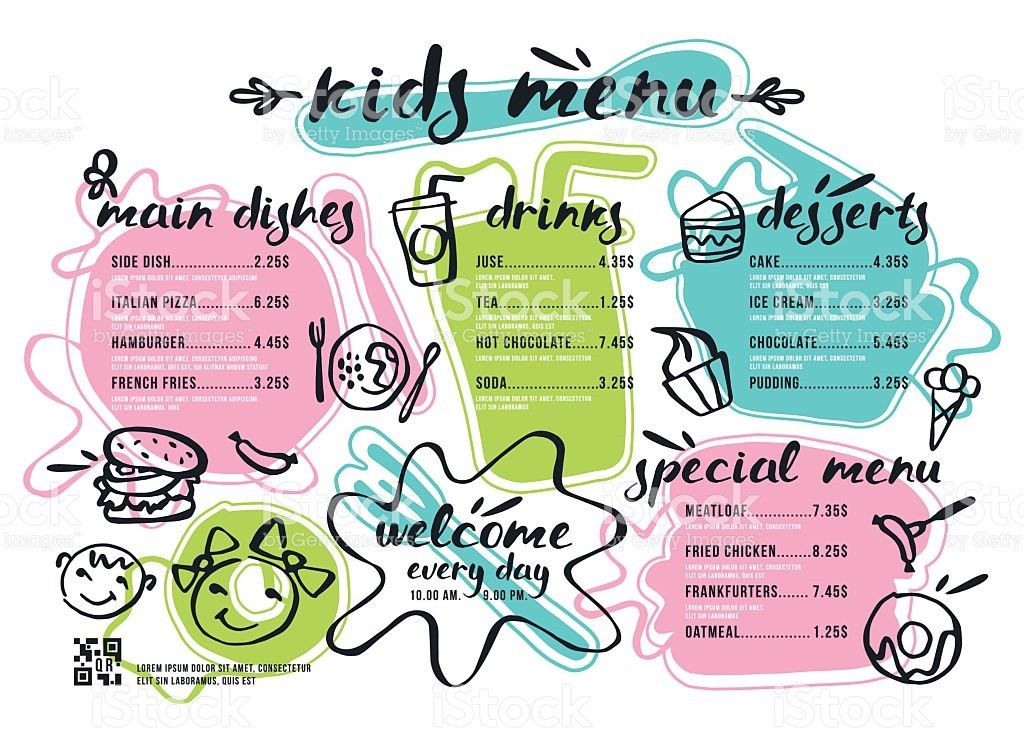 Kids Menu Template With Lettering And Badges stock vector art ...