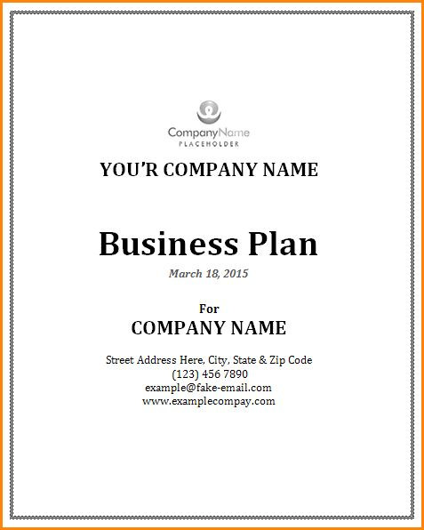 3+ business plan cover page template word | receipts template