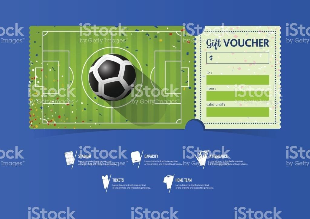 Tickets Template Design For Football Or Soccer Match Gift Vouchers ...