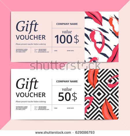 Trendy Abstract Gift Voucher Card Templates Stock Vector 624581390 ...