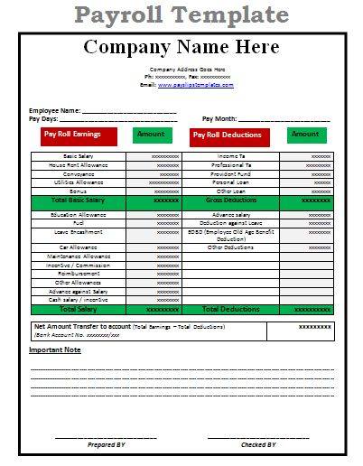 payroll sheet template Archives - Payslip Templates