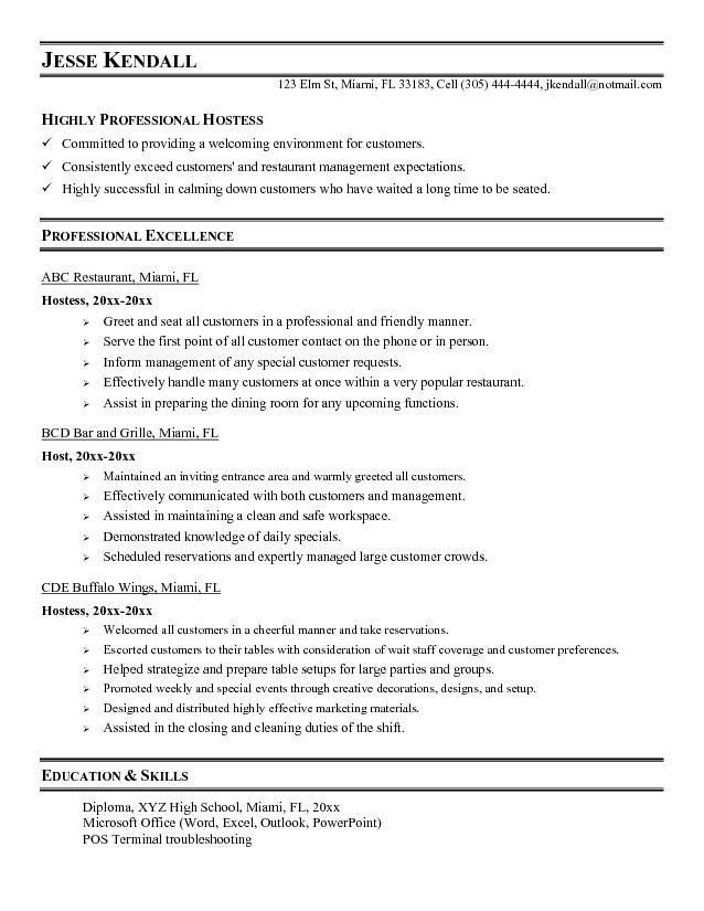 Free Host / Hostess Resume Example