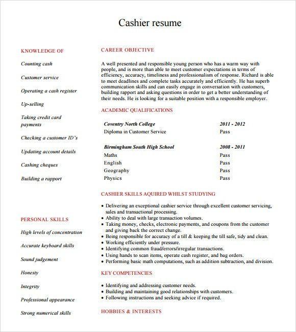 Sample Cashier Resume - 5+ Documents in PDF