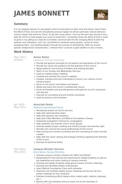 Senior Pastor Resume samples - VisualCV resume samples database