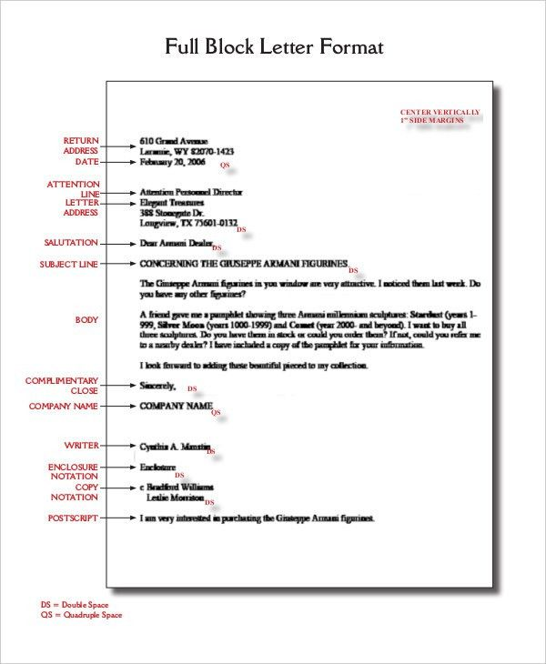 Block Letter Format Template - 8+ Free WOrd, PDF Documents ...