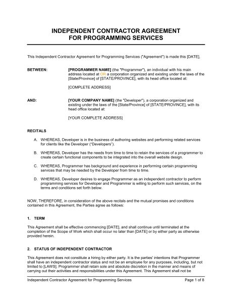 Independent Contractor Agreement For Programming Services ...