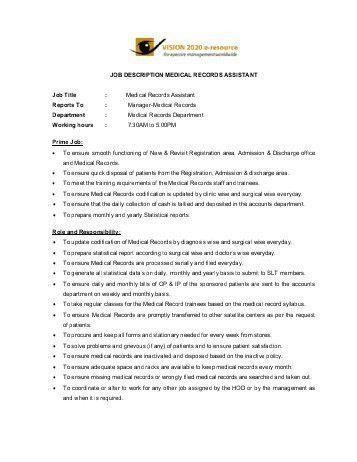 Medical Records Manager Job Description. Job Description Medical ...