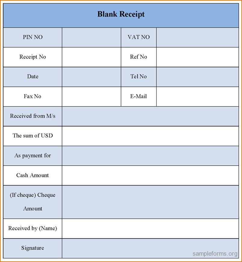 6+ blank receipt template | Printable Receipt