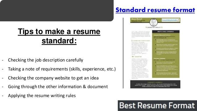 use the right standard resume format 2017 with our help. it ...