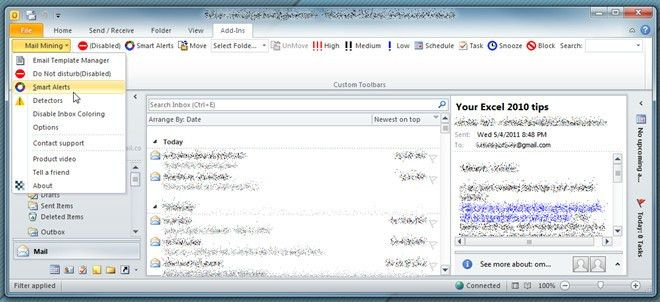 Mail Mining Adds Advanced Email Related Options In Outlook 2010