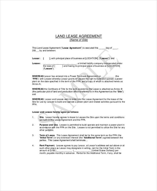7+ Land Lease Templates - Free Sample, Example, Format | Free ...