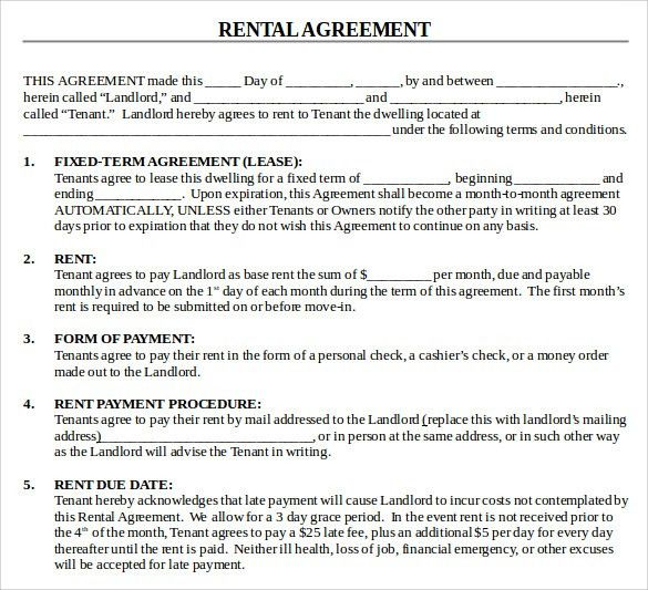 House Rental Agreement. Blank House Rental/Lease Agreement Sample ...