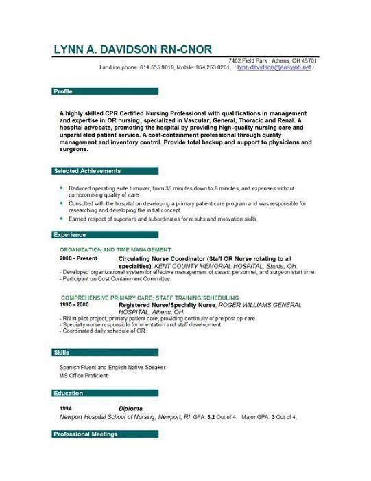 nursing resume template free example nursing nurse resume free ...