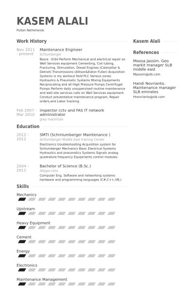 Maintenance Engineer Resume samples - VisualCV resume samples database
