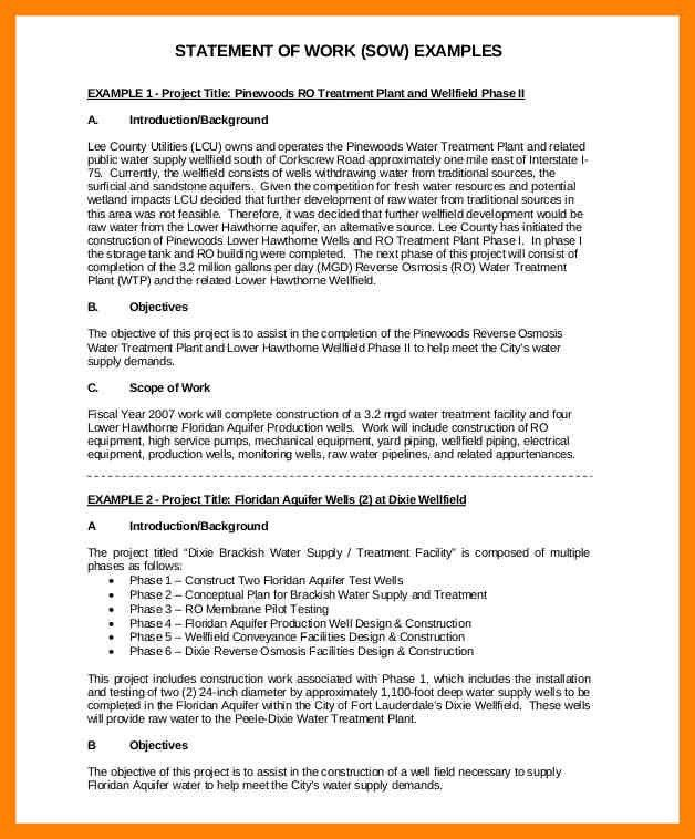 9+ statement of work sample | intern resume