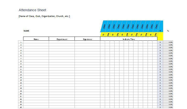 Attendance Sheet Sample