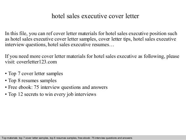 Hotel sales executive cover letter