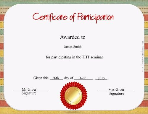 Free Certificate of Participation Templates For Download!!