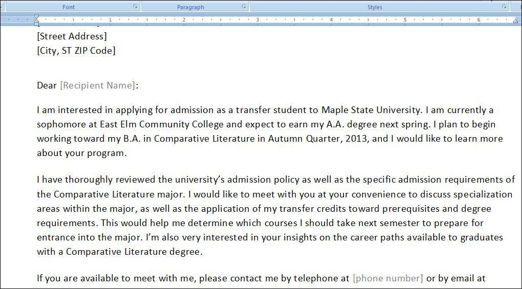 Sample College Transfer Meeting Requesting Letter to Advisor ...
