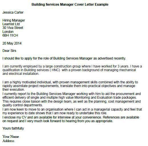 Building Services Manager Cover Letter Example | for martin ...