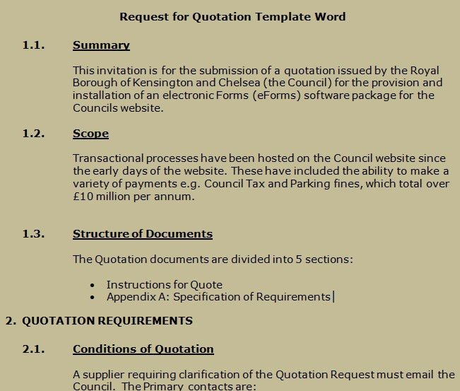 Get Request for Quotation Template Word | Projectemplates | Excel ...