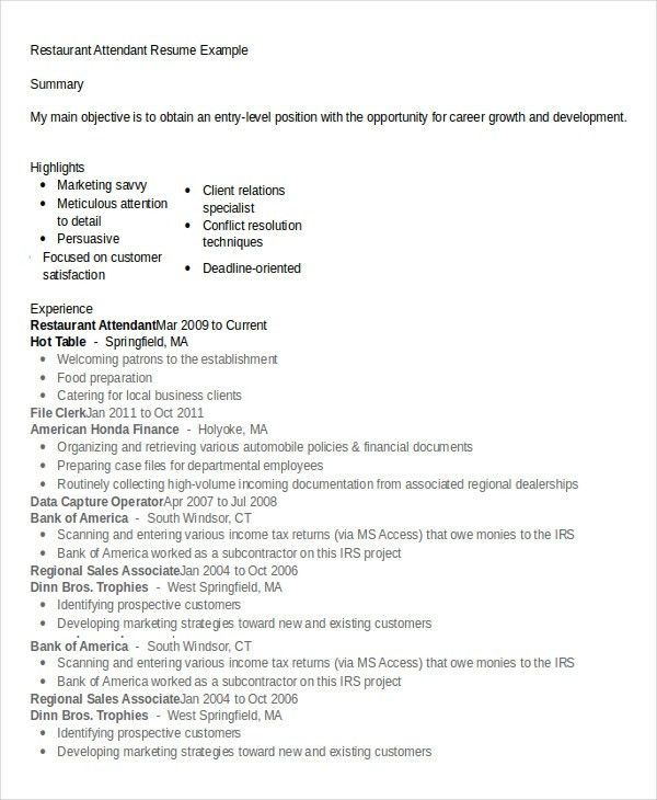 Restaurant Resume - 10+ Free Word, PDF Documents Download | Free ...