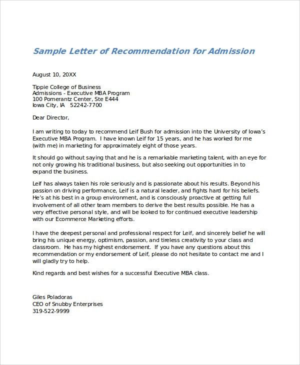 Recommendation Letter Word Sample - Mediafoxstudio.com